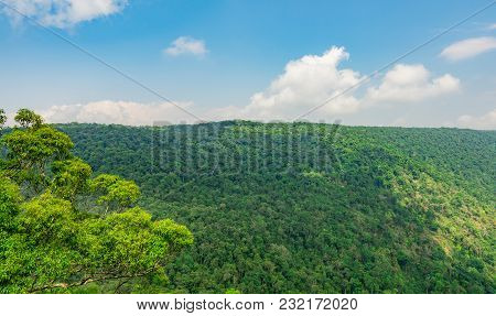 Beautiful View Of Tropical Rainforest At Pha Diao Dai Cliffs Of Khao Yai National Park In Thailand.