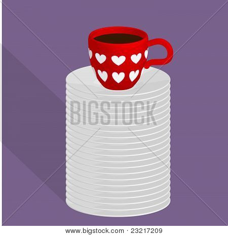 Red cup of coffee on a plates