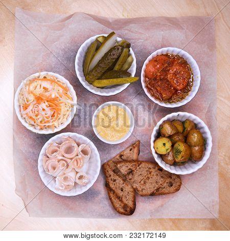 Restaurant dish - assorted snack to vodka