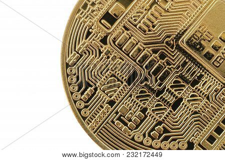 Bitcoin Currency Of Gold Medal Isolated On White Background And Have Clipping Paths To Ease Of Use.