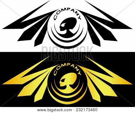 Aliens Surrounded By Wings And Inscription Alien Concept Logo