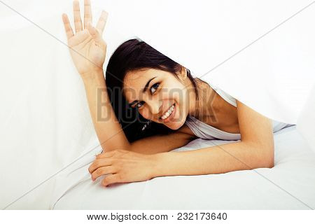 Young Pretty Tann Woman In Bed Among White Sheets Having Fun, Trying To Sleep, Fooling Around, Lifes