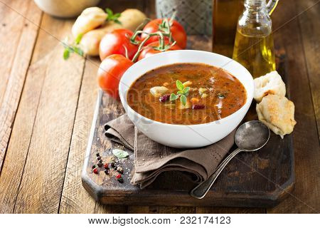 Tomato Minestrone Soup With Beans And Pasta With Copy Space