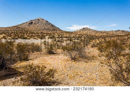 Beautiful Desert Mountain Shot In A Nice Day. Image Taken At Apple Valley California Usa