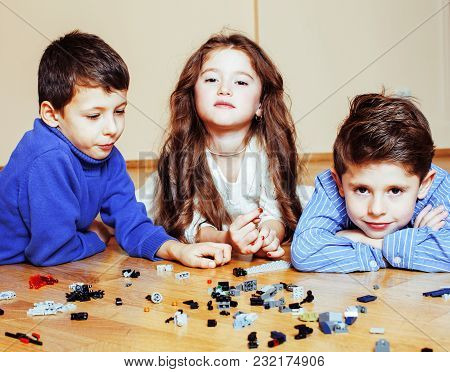 Funny Cute Children Playing Toys At Home, Boys And Girl Smiling, First Education Role Close Up, Life