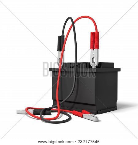 3d Rendering Of A Car Battery With Red And Black Battery Clamps Connected To It But Their Opposite E