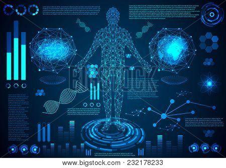 Abstract Technology Ui Futuristic Hud Interface Hologram Elements Human Body Digital Health Care Fut