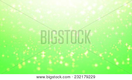 Gold Christmas Background, Star Glow On Green Background With Bokeh Effect, Colorful Lights Bokeh On