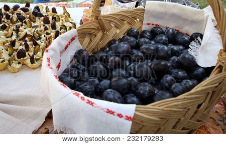 Delicious Plum Cake With Plums On A Table