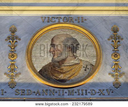 ROME, ITALY - SEPTEMBER 05, 2016:  image of Pope Victor II, born Gebhard Graf von Calw, was Pope from 13 April 1055 to his death in 1057, basilica of Saint Paul Outside the Walls, Rome, Italy.