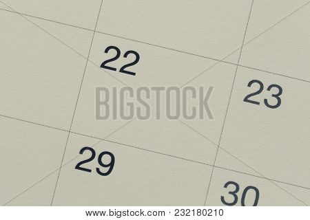 Number Twenty-two Of Vintage Calendar Paper Background And Have Copy Space For Design Concept In You