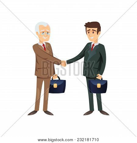 Vector Flat Design Of Senior And Young Entrepreneurs Having Deal And Shaking Hands.