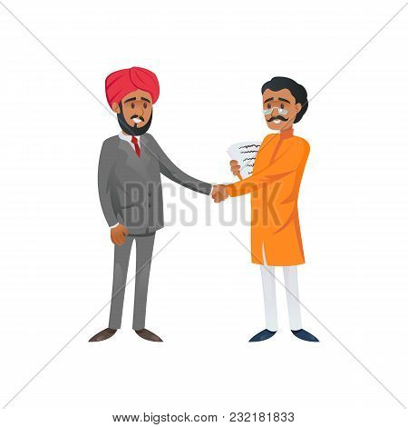 Flat Style Of Indian And Arabic Entrepreneurs Shaking Hands In Cooperation.