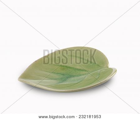 Leaf Shape Plate Isolated Of Spot Focus On White Background And Have Clipping Paths With Create From