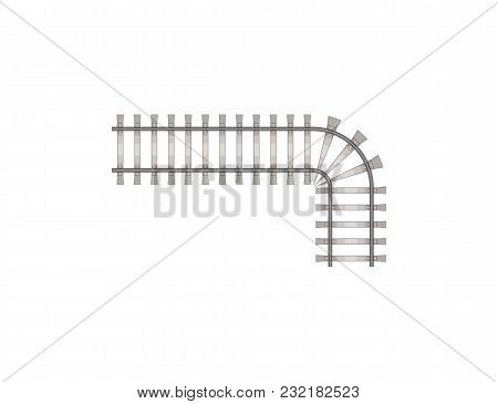 Flat Design Of Fragment Of Steel Railway Road Build Isolated On White.