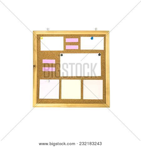 Closeup Cork Board With Paper Note Isolated On White Background