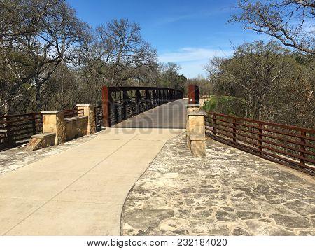 Bridge On Brush Creek Trail, Round Rock, Texas. Trail Offers A Corridor Linking Neighborhoods, Shopp