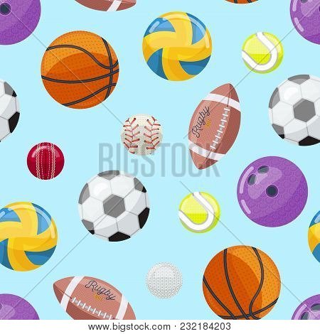 Abstract Backdrop With Pattern Of Colorful Balls In Different Sportive Games.