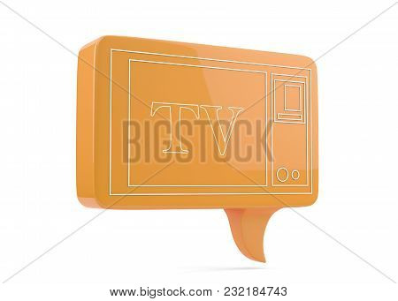 Tv Icon 3d Render On White With Clipping Path,3d Tv Icon Render On White,orange Color Tv Icon