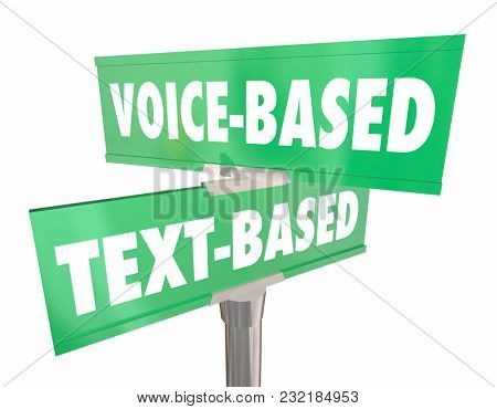 Voice or Text Based Two 2 Street Road Signs 3d Illustration