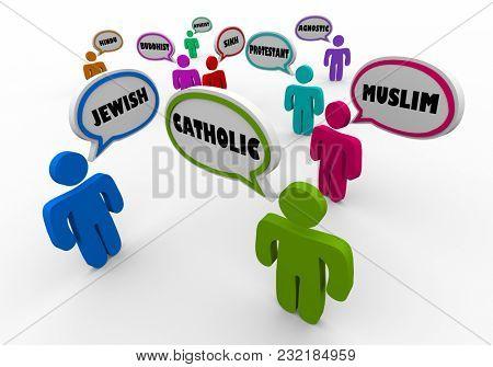 Religous People Faith Followers Religions Speech Bubbles 3d Illustration