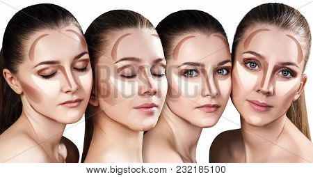 Collage Of Young Women With Sample Contouring And Highlight Makeup On Face. Over White Background.