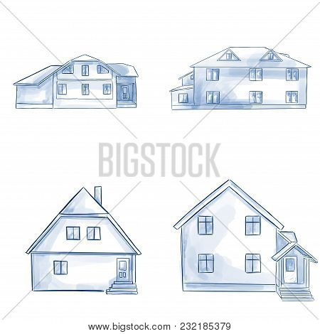 Line Art Residential House Collection - Hand Drawn Blue Line Real Estate
