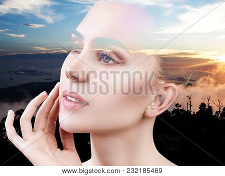 Double Exposure Portrait Of Young Woman And Nature Sunset.