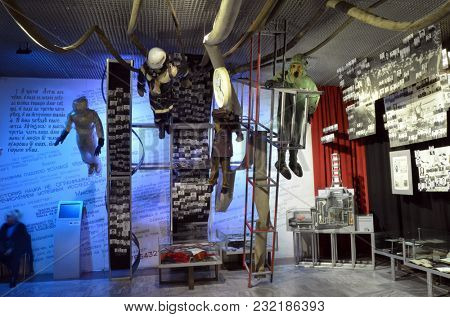 Museum of the History of Chernobyl Disaster. Interior.March 20, 2018 in Kiev,Ukraine