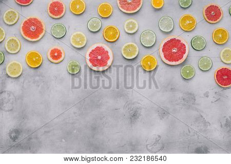 Summer Background Top View Sliced Citrus Fruit Flat Lay