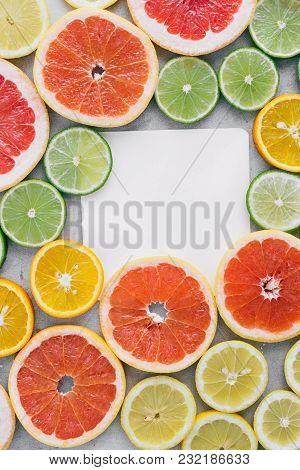 Flat Lay Summer Background Paper Sheet Sliced Citrus Fruit