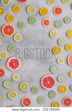 Sliced Citrus Fruit Light Top View Flat Lay Summer Background