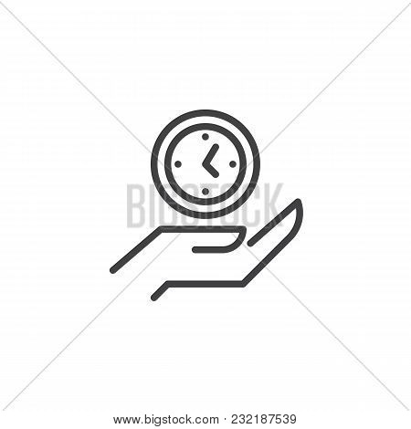 Clock On Hand Outline Icon. Linear Style Sign For Mobile Concept And Web Design. Hand Hold Watch Sim