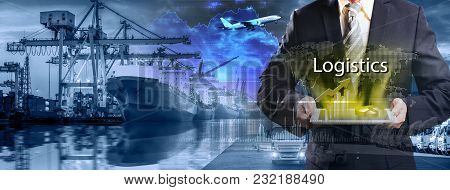 Double Exposure Business Logistics Concept, Container Cargo Freight Ship For Logistic Import Export