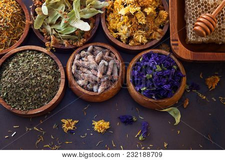 natural alternative herbal medicine with dried herbs and flowers - alternative medicine