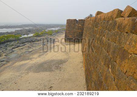 Wall Of Kolaba Fort Near Alibaug Beach, Maharashtra, India