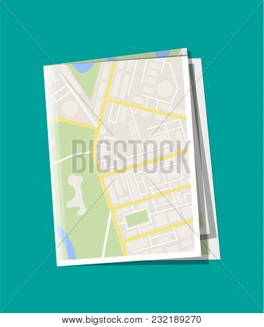 Folded Paper City Suburban Map. Abstract Generic Map With Roads, Buildings, Parks, River, Lake. Gps