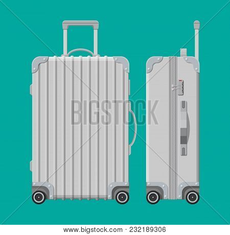 Silver Travel Bag. Plastic Case. Trolley On Wheels. Travel Baggage And Luggage. Vector Illustration