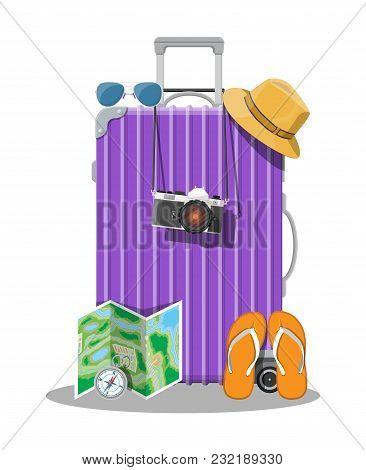 Plastic Travel Bag. Plastic Case With Wheels. Hat, Photo Camera, Eyeglasses, Paper Map, Compass, Fli