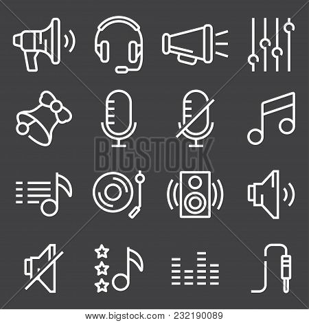 Sound Icons Set Vector, Audio Signs, Buttons, Elements Isolated On Gray Background. Music, Volume Co