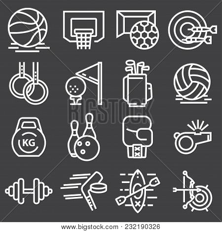 Sports Set Icons. Flat Vector Illustration In White On Gray Background.