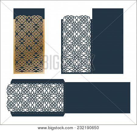 Laser Cut Ornamental Vector Template. Luxury Greeting Card, Envelope Or Wedding Invitation Card Temp