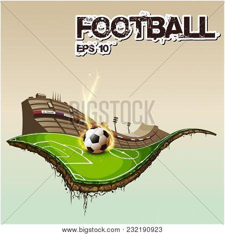 Football Text Football Stadium Background Vector Image