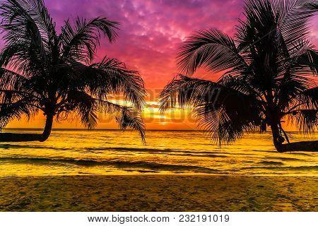 View On Purple Sunset On Tropical Beach On Koh Kood Island In Thailand