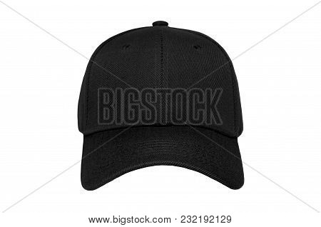 Baseball Cap Color Black Close-up Of Front View On White Background