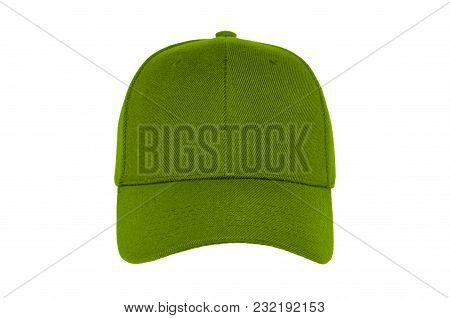 Baseball Cap Color Green Close-up Of Front View On White Background