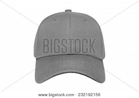 Baseball Cap Color Grey Close-up Of Front View On White Background
