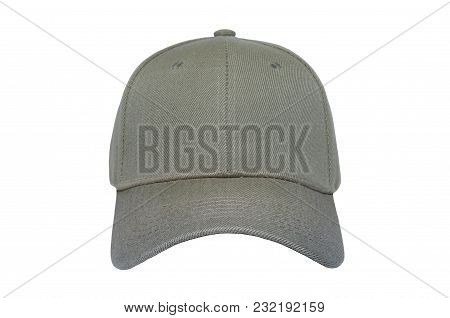 Baseball Cap Color Kaki Close-up Of Front View On White Background