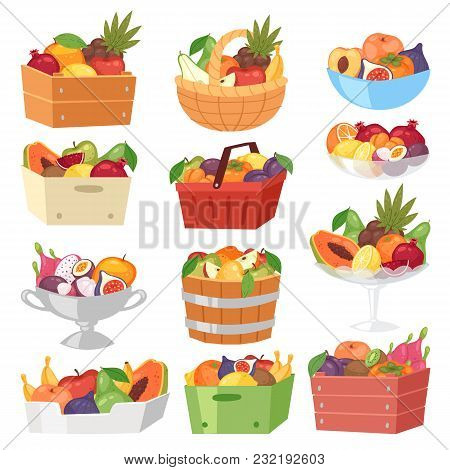Fruit basket vector fruity apple banana and exotic papaya in box illustration fruitful set juicy orange with fresh slices of tropical dragonfruit in bowl isolated on white background. poster