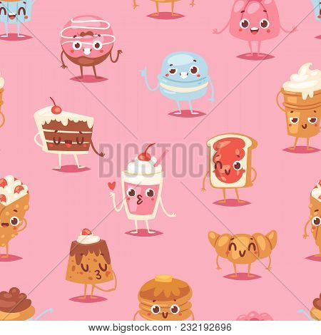 Cartoon Cake Character Vector Chocolate Sweets Confectionery Cupcake Emotion And Sweet Confection De